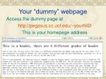 your dummy webpage