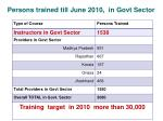 persons trained till june 2010 in govt sector