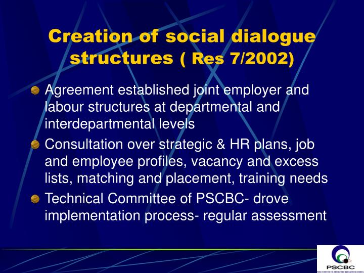 Creation of social dialogue structures