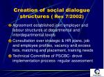 creation of social dialogue structures res 7 2002