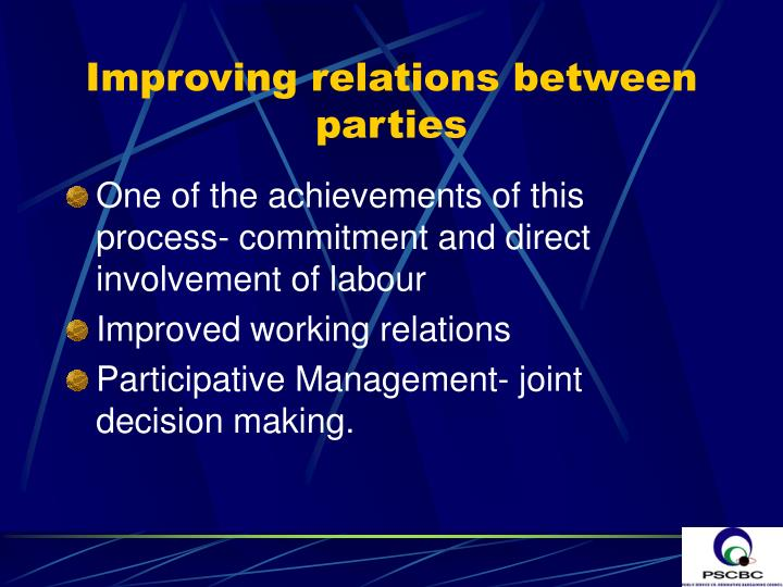 Improving relations between parties