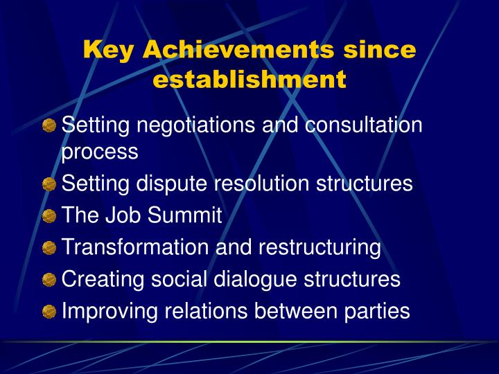 Key Achievements since establishment