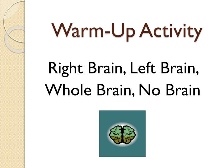 Warm up activity