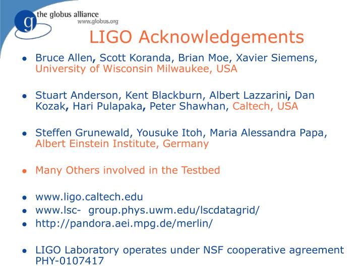 LIGO Acknowledgements