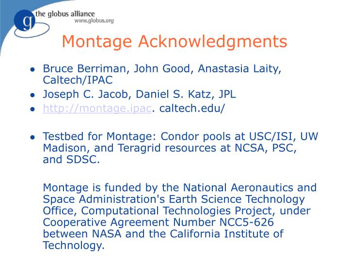 Montage Acknowledgments