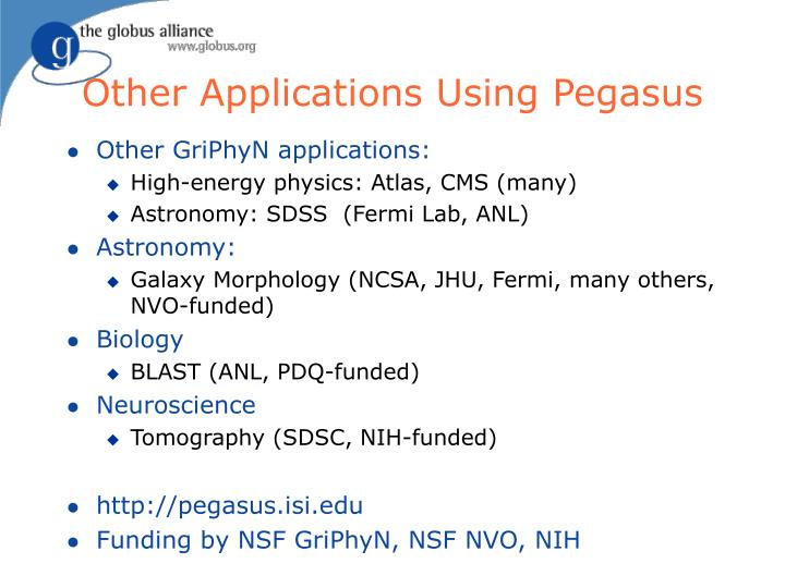 Other Applications Using Pegasus