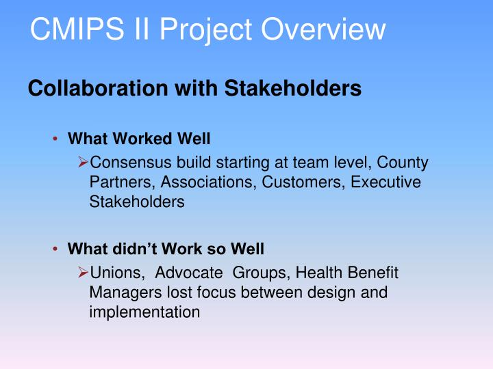 CMIPS II Project Overview