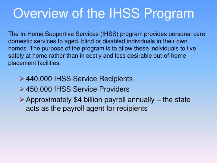 Overview of the IHSS Program