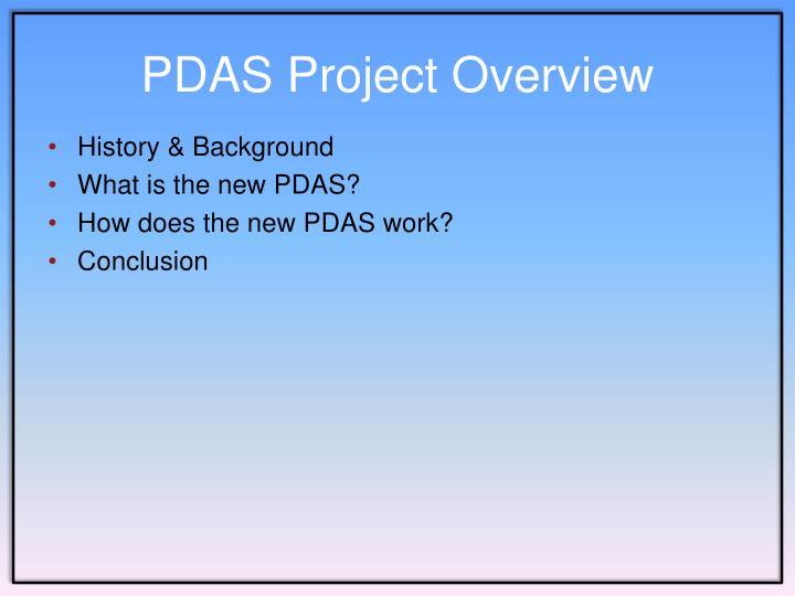 PDAS Project Overview