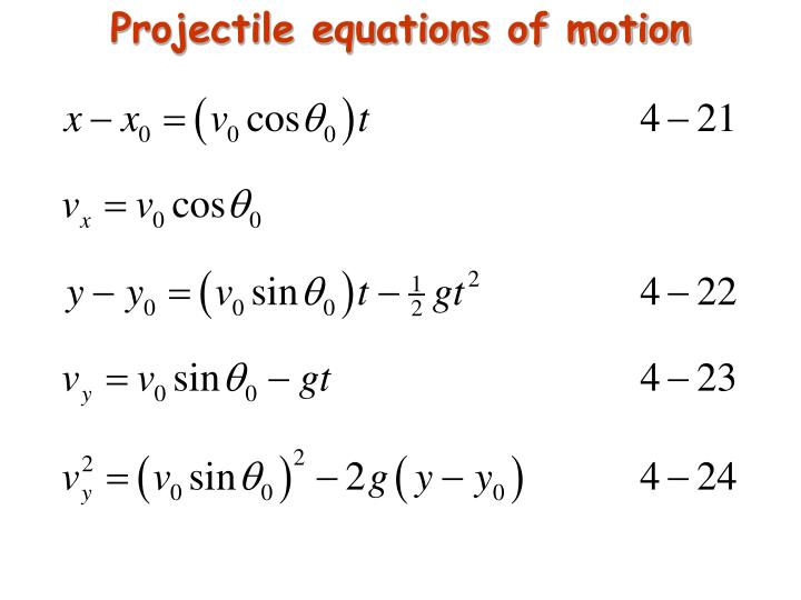 Projectile equations of motion