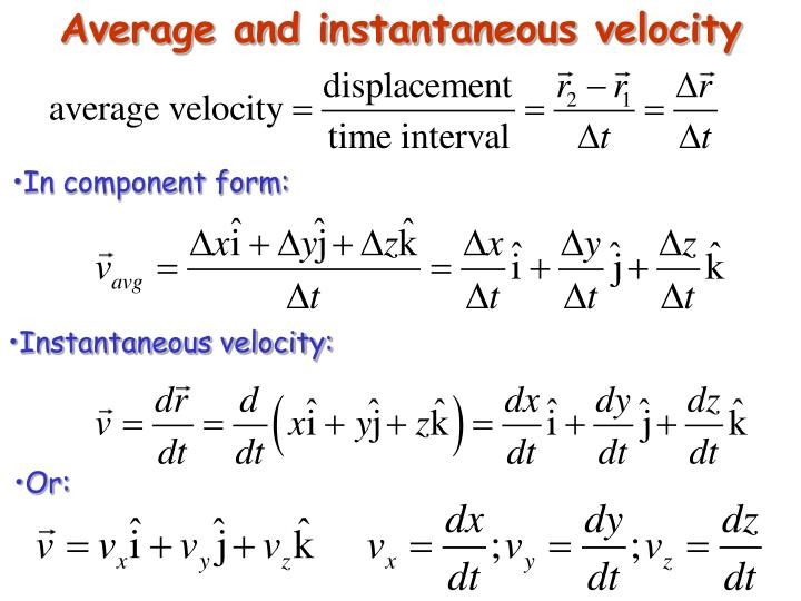 Average and instantaneous velocity