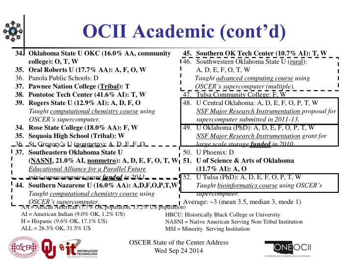 OCII Academic (cont'd)