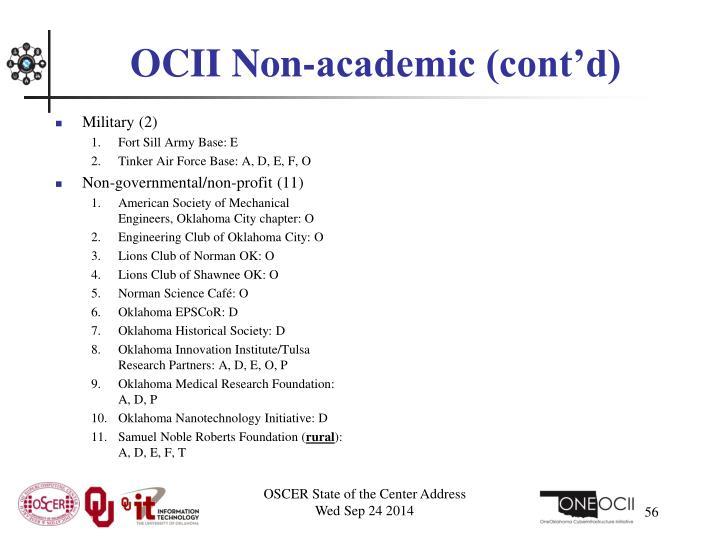 OCII Non-academic (cont'd)