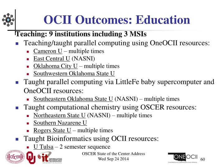 OCII Outcomes: Education