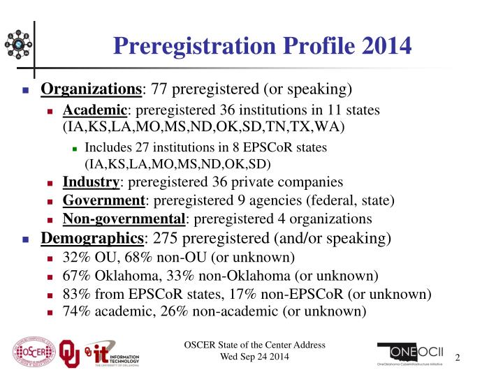 Preregistration profile 2014