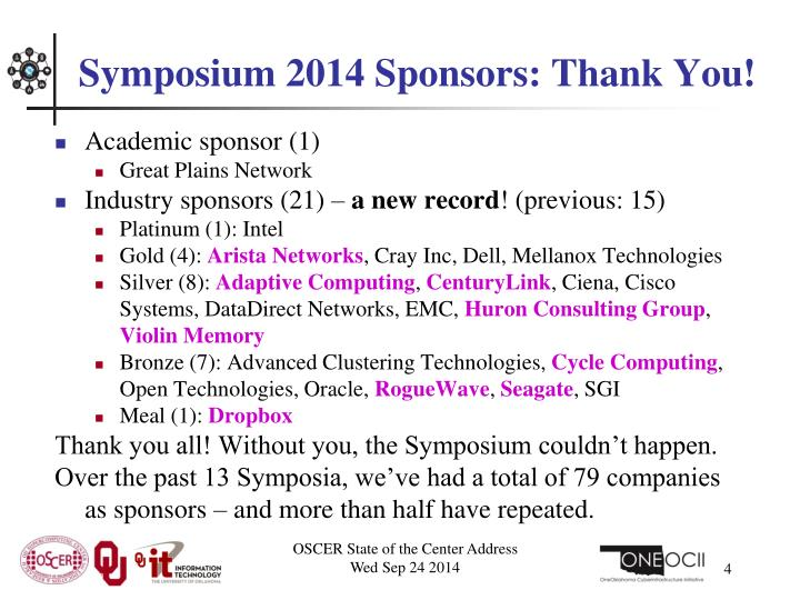 Symposium 2014 Sponsors: Thank You!
