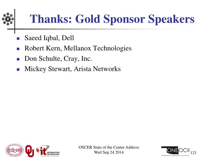 Thanks: Gold Sponsor Speakers