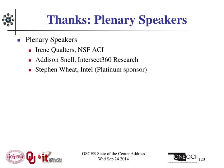 Thanks: Plenary Speakers
