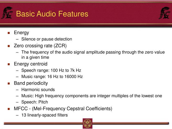 Basic Audio Features