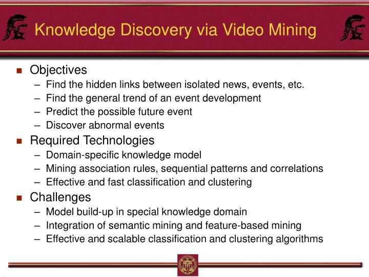 Knowledge Discovery via Video Mining