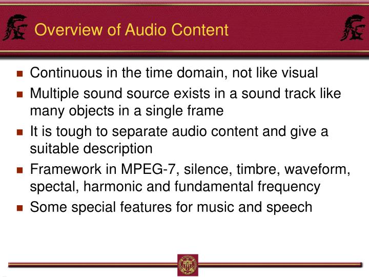 Overview of Audio Content