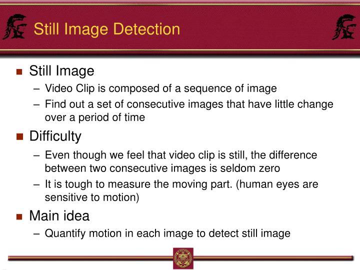 Still Image Detection