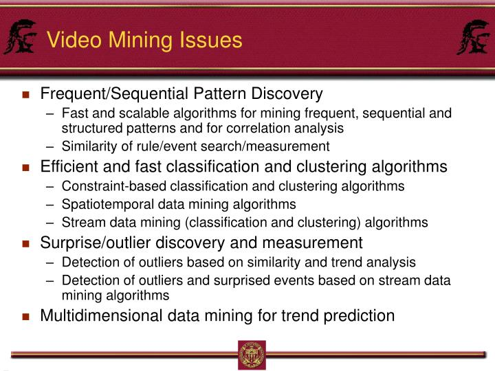 Video Mining Issues