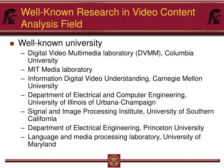 Well-Known Research in Video Content Analysis Field