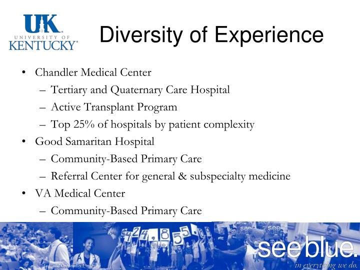 Diversity of Experience