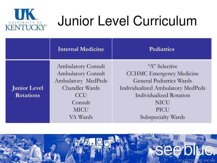 Junior Level Curriculum