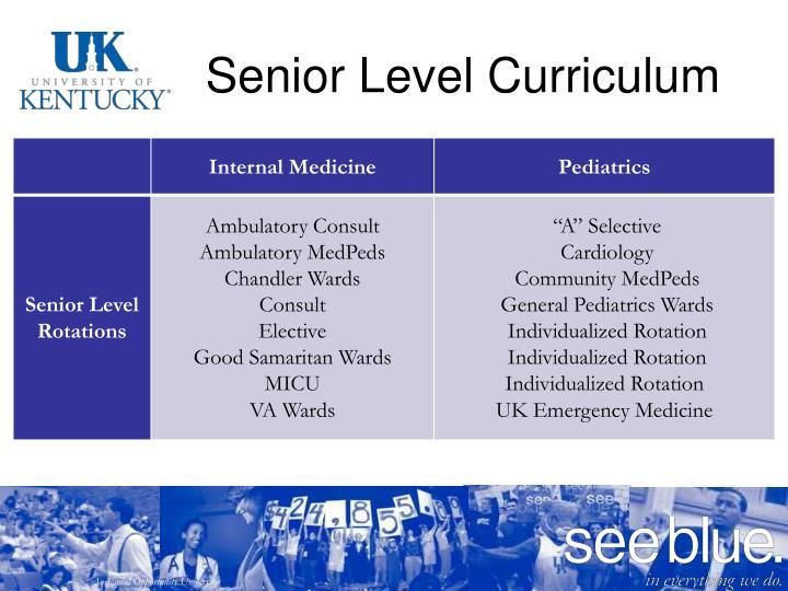 Senior Level Curriculum