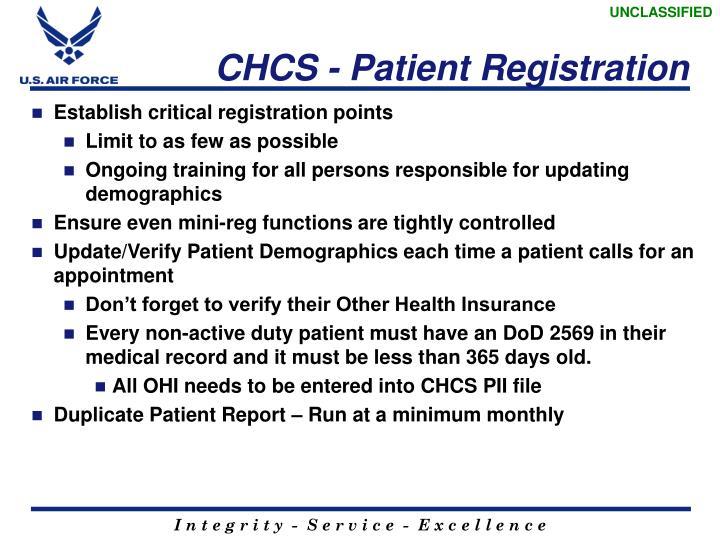 CHCS - Patient Registration