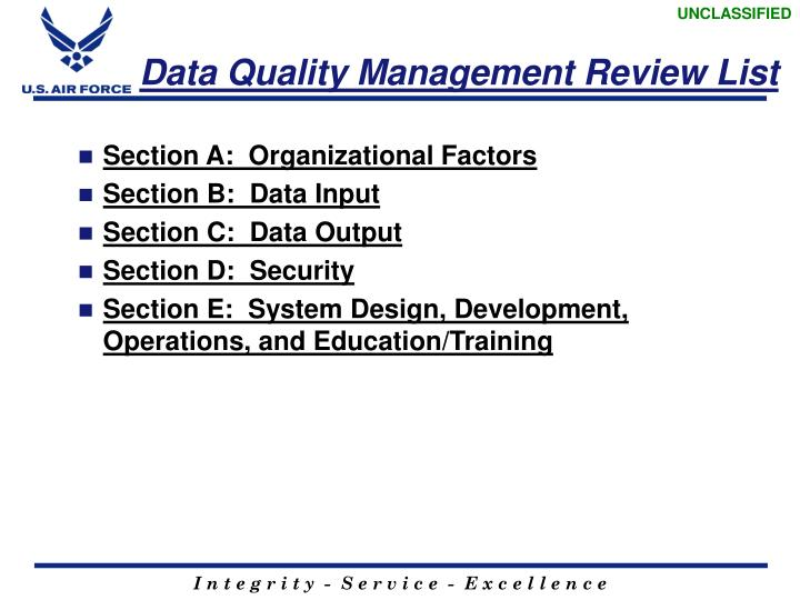 Data Quality Management Review List