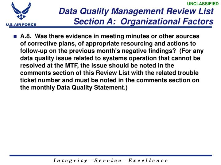 Data Quality Management Review List  Section A:  Organizational Factors