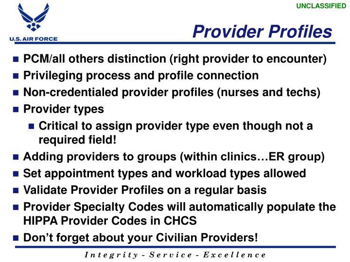 Provider Profiles