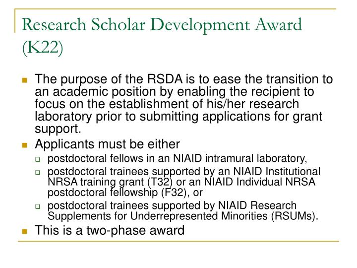 Research Scholar Development Award (K22)