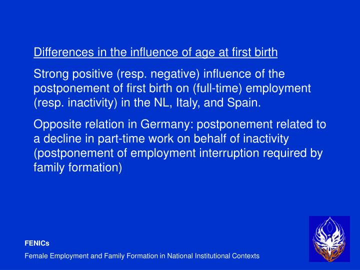 Differences in the influence of age at first birth