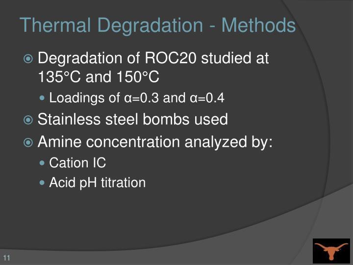 Thermal Degradation - Methods