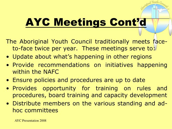 AYC Meetings Cont'd