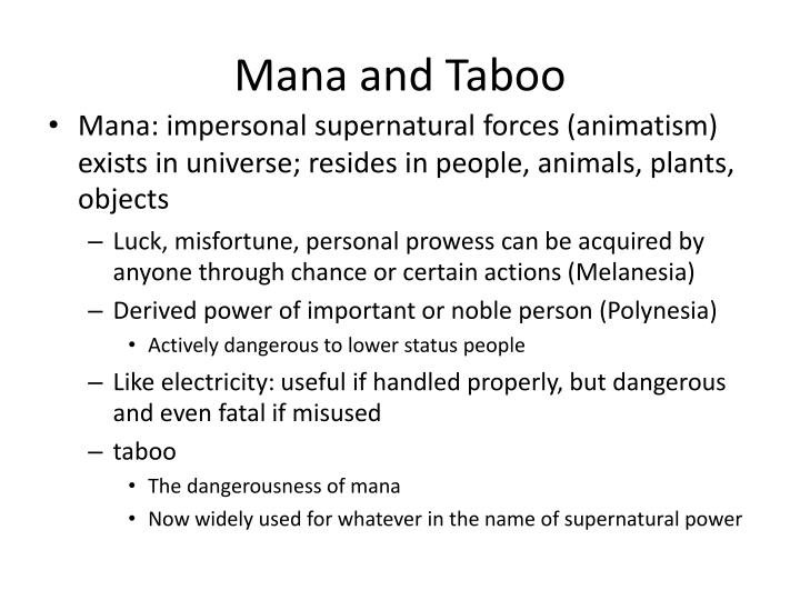 Mana and Taboo