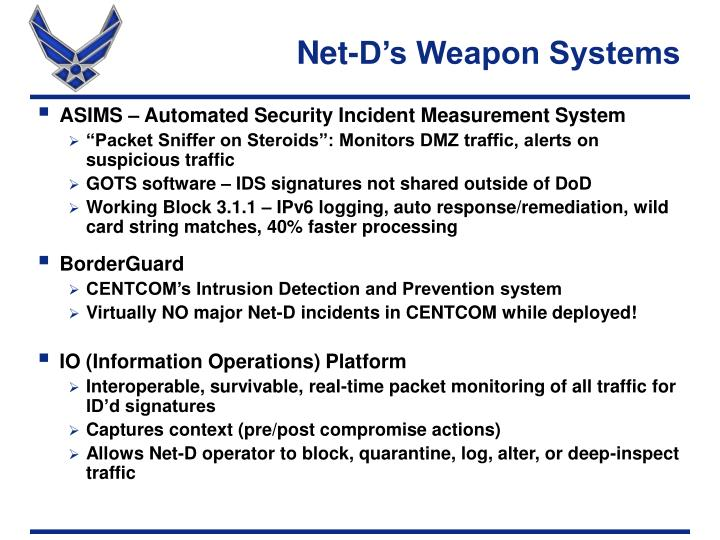 Net-D's Weapon Systems