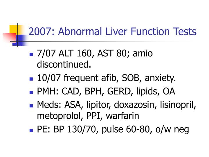 2007: Abnormal Liver Function Tests