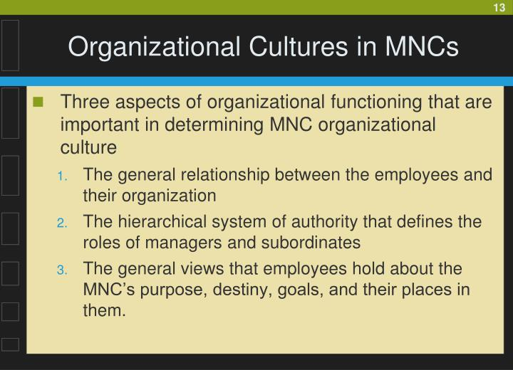 Organizational Cultures in MNCs