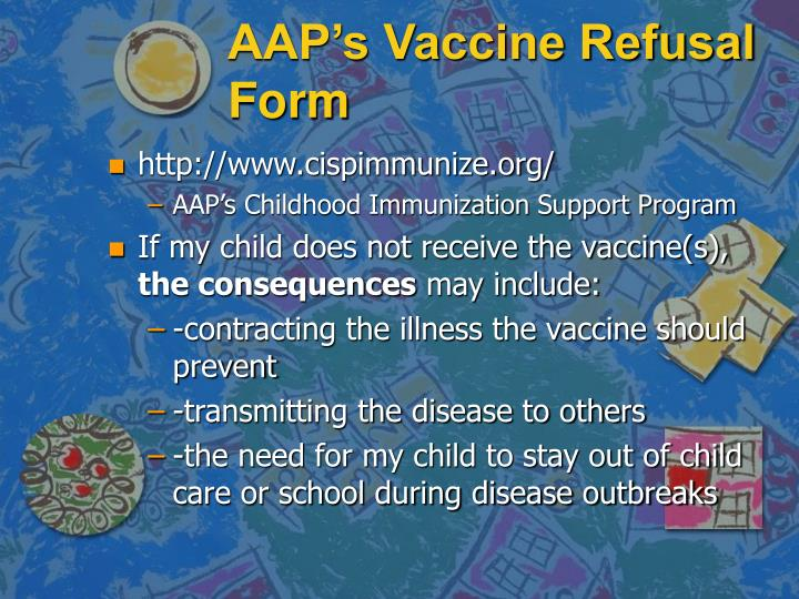 AAP's Vaccine Refusal Form