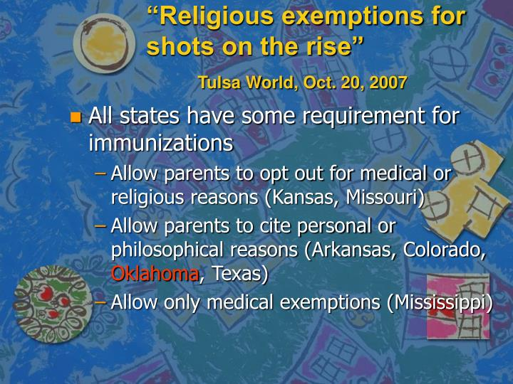 """Religious exemptions for shots on the rise"""