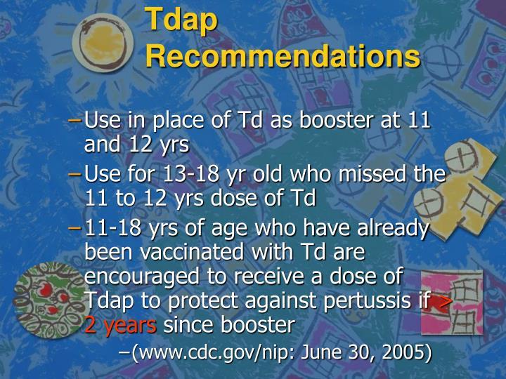 Tdap Recommendations