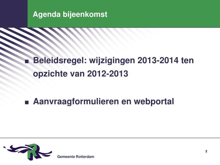 Agenda bijeenkomst