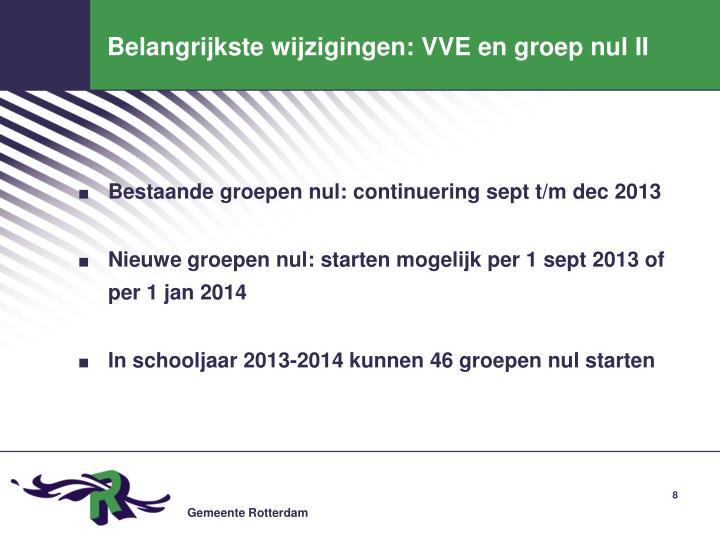 Belangrijkste wijzigingen: VVE en groep nul II