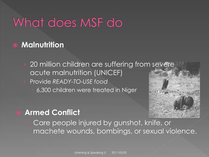 What does MSF do