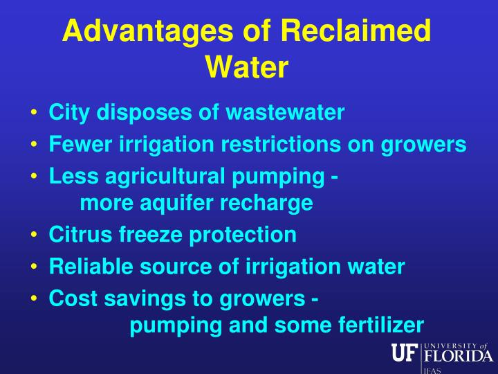 Advantages of Reclaimed Water